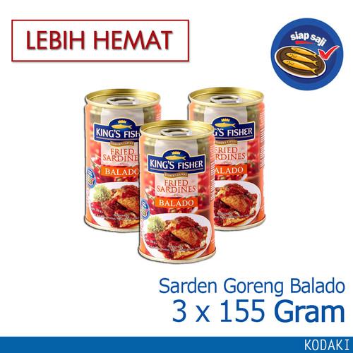 Foto Produk Paket 3 pcs King's Fisher Sarden goreng mini rasa saus balado 155g dari Kings Fisher