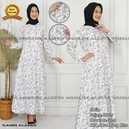 Foto Produk gamis katun jepang alaska motif kembang/baju muslim wanita murah dari alesya collection