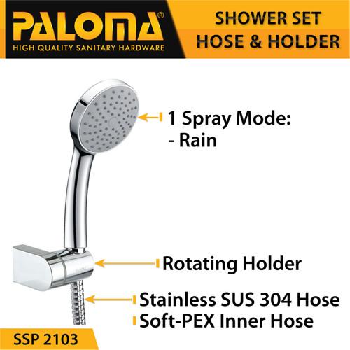 Foto Produk PALOMA SSP 2103 Shower Set Handshower Mandi Hand Head Kepala Air Paket dari PALOMA HARDWARE