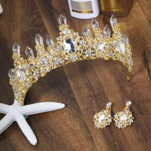 Foto Produk Mahkota rambut anting set Promo tiara wedding crown pesta pe dari askanahana