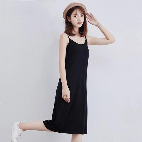 Foto Produk Midi Dress Camisoles Singlet Tali kecil Gaya Korea - Jfashion Anggun - Hitam dari j--fashion