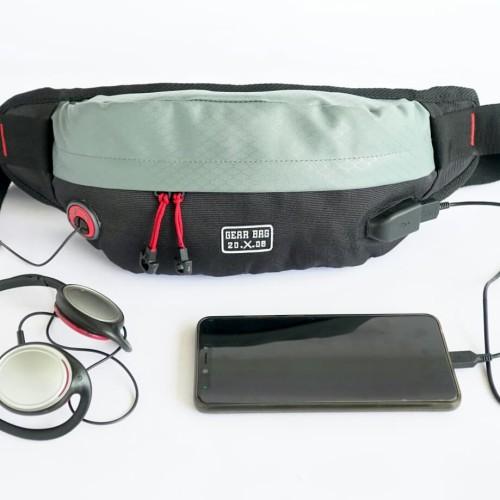Foto Produk tas selempang waistbag waist bag mini plus kabel USB - Biru dari L Habib