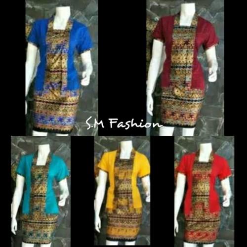 Foto Produk Stelan Kebaya Etnik Pendek RnB Wardah Butho Murah Ukuran M - XL - Merah, M dari Simi Fasion Shop
