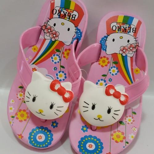 Foto Produk Sandal Jepit Wedges H2cm Boneka Bunyi Hello Kitty S22-33 Merk Bekro dari GROSIRAN SANDAL MURAH