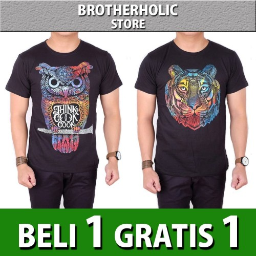 Foto Produk Buy 1 Get 1 Kaos pria distro lengan pendek motif owl lion dari Brotherholicstore