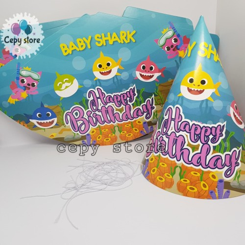 Foto Produk Topi Ulang Tahun Kerucut / Topi Pesta Karakter Baby Shark dari Cepy Store