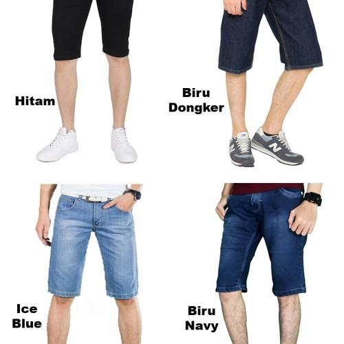 Foto Produk Celana pendek jeans pria premium ukuran 27-38. - Biru Tua, 29 dari Jasmine@store