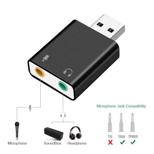 Foto Produk Usb Sound Card External To Jack 3.5Mm Headphone And Mic dari Pakuan Strike