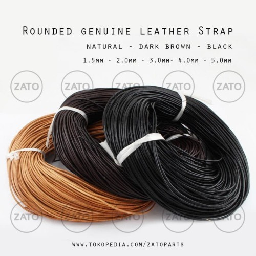 Foto Produk Rounded genuine leather Strap Lace - Leather tools - tali kulit - 1.5 mm Natural dari ZATO INDONESIA
