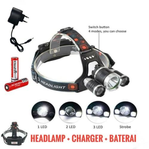 Foto Produk PAKET SENTER KEPALA Headlamp XM-L T6 3 LED 5000 Lumens - 5000 Lumens dari Sungai Kuning