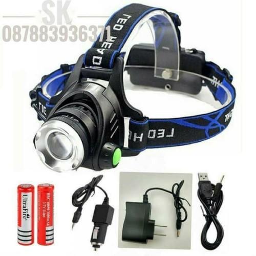Foto Produk paket headlamp / senter kepala high power XML-L2 + 3 charger 2 baterai dari Sungai Kuning