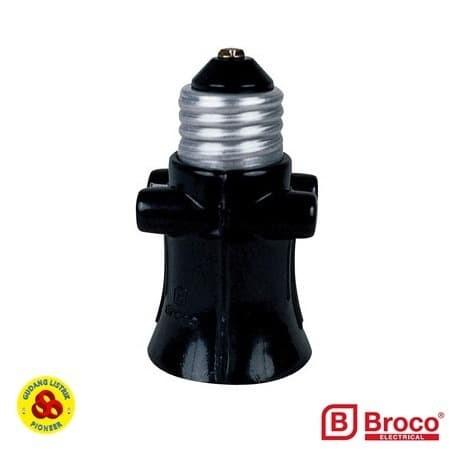 Foto Produk BROCO FITTING LAMPU KOMBINASI COLOK E27 HITAM 226 FITING BOHLAM dari Gudang Listrik
