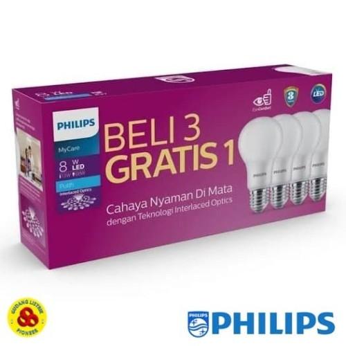 Foto Produk PHILIPS LAMPU LED MYCARE 8W PAKET LED BULB 8 WATT ISI 4 PUTIH dari Gudang Listrik