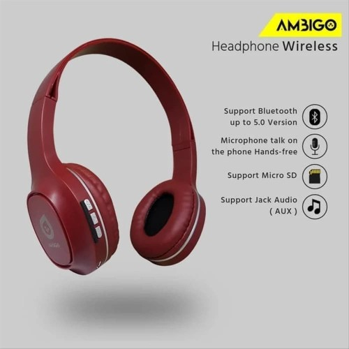 Foto Produk Headphone Extra Bass Bluetooth Wireless Headset Bando Ambigo - Merah dari Jagonya Case
