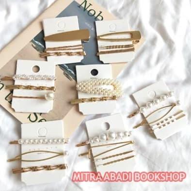 Foto Produk Set 3 pcs Jepitan Pearl Hairclip Jepit Rambut Mutiara Korea SET 01 dari Mitra Abadi Bookshop