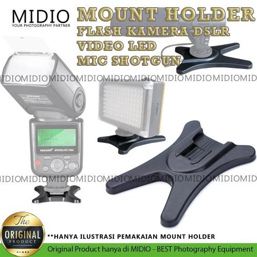 Foto Produk Mount Flash Holder HotShoe Midio For Flash DSLR Video Led Shotgun Mic dari Midio