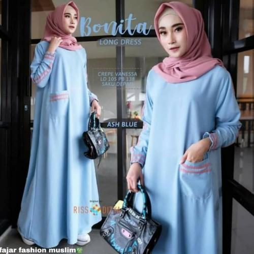 Foto Produk Baju Gamis Syari Muslim Terbaru Bonita Dress Maxi Murah & Berkualitas - Biru Muda, XL dari fajarmuslim