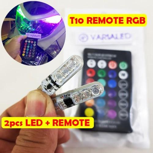 Foto Produk Lampu Senja T10 RGB 2 LED dengan Remote Kota 16 Warna Mobil Motor dari variaLED