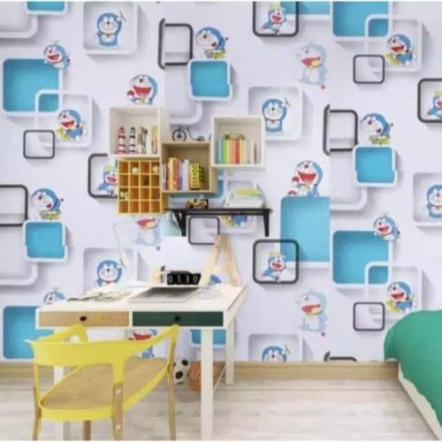 Foto Produk Wallpaper Dinding Motif Doraemon kotak 3D 10m x 45cm dari Hanifah shop 1