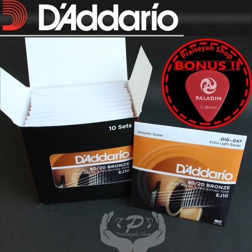Foto Produk Daddario EJ 10 0.10 Senar Gitar Akustik String ORI Original Dadario dari PraiseyahShop
