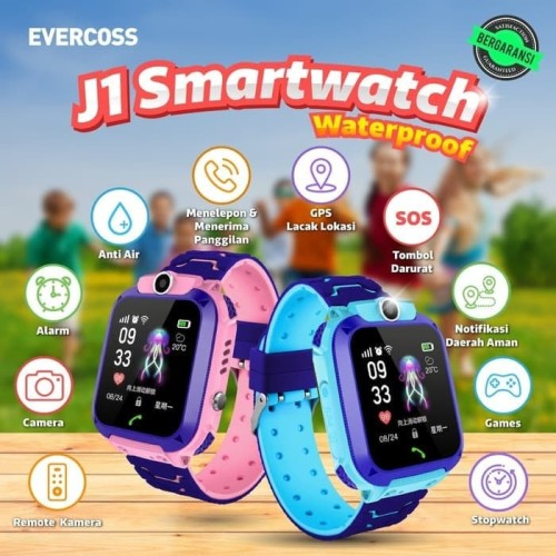 Foto Produk Jam Tangan Anak Smartwatch Kids Evercoss J1 Resmi - Biru dari Kreasindo Online