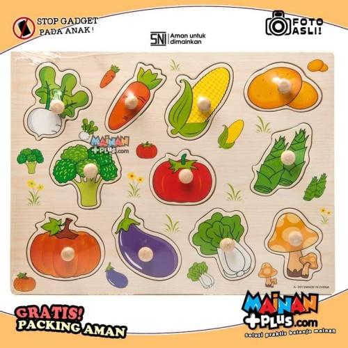 Foto Produk Mainan Edukasi Edukatif - Puzzle Kayu Sayur Mayur Tombol Kayu dari MainanPlus