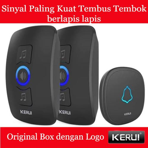 Foto Produk KERUI Wireless Doorbell Waterproof Door Bell Pintu rumah 2 Receiver - Hitam dari Asyam Weiseman