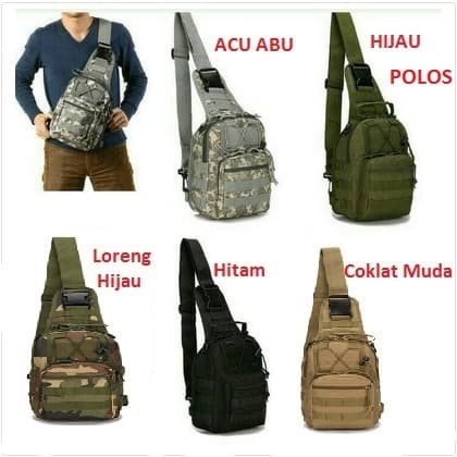 Foto Produk Tas Selempang Slempang Cowok Pria Army tactical sling waist Army #05 - Hitam dari Alat Ukur Dan Repeater