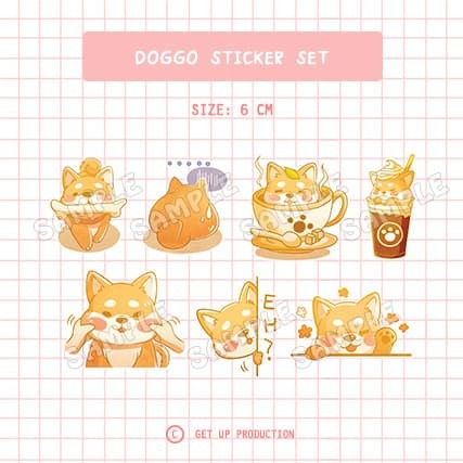 Foto Produk Dog Sticker SET/ Stiker Anjing Doggo SEPAKET/ Lucu/ Planner/ Jurnal dari Get Up Production