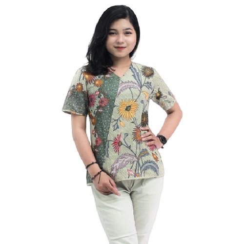 Foto Produk READY S-M-L-XL-XXL-3L-4L-5L -Blouse Batik Atasan Wanita Bunga matahari - 5L dari BATIK DUA PUTRI