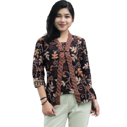 Foto Produk Blouse Batik Wanita _ Atasan Batik Wanita - Kutubaru Lengan 7/8 daun - M dari BATIK DUA PUTRI