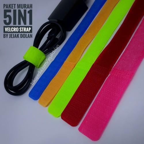 Foto Produk [Paket 5in1 Murah] Velcro Strap Perapi Kabel - Velcro Cable Ties dari Jejak Dolan