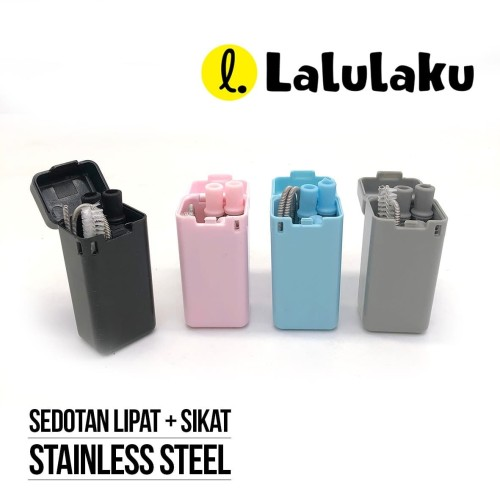 Foto Produk Sedotan Lipat Stainless - Stainless Steel Straw Reusable - Biru Muda dari Lalulaku
