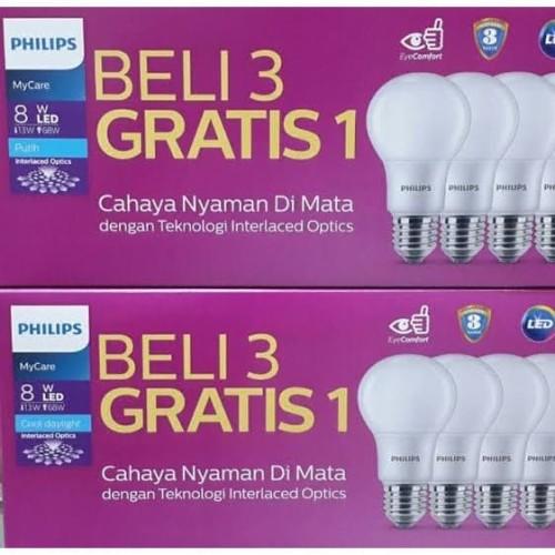Foto Produk Lampu LED Bulb Bohlam PHILIPS Paket 8 Watt Mycare Pack 8W Multipack dari Bardi Solusi Otomasi