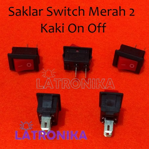 Foto Produk Saklar Switch Mini Merah 2 Pin KC 6A88 On Off dari Latronika