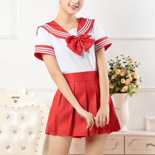 Foto Produk seragam sekolah jepang sailor seifuku lengan pendek navy blue cosplay - Merah dari ecos
