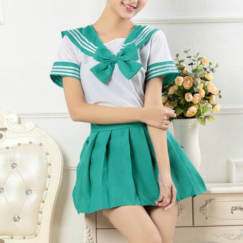 Foto Produk seragam sekolah jepang sailor seifuku lengan pendek navy blue cosplay - Hijau Tosca dari ecos