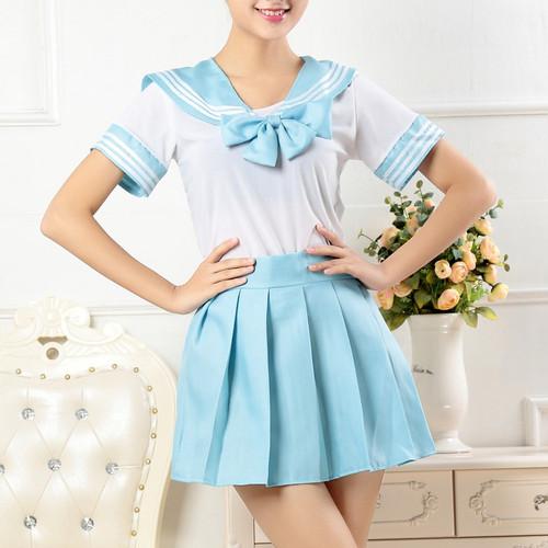 Foto Produk seragam sekolah jepang sailor seifuku lengan pendek navy blue cosplay - Biru Muda dari ecos