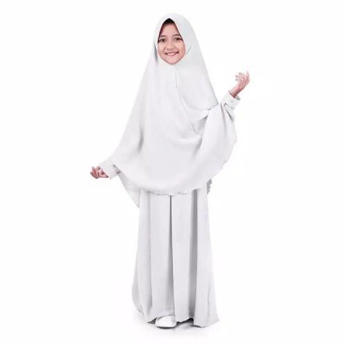 Foto Produk Bajuyuli - Baju Muslim Anak Perempuan Gamis Syar'i Polos Wolly - Putih dari duniafashionista
