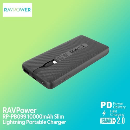 Foto Produk RAVPower PowerBank 10000mAh With Built-In Lightning Cable [RP-PB099] dari RAVPower Official Store