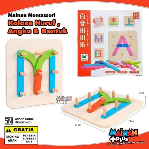 Foto Produk Mainan Edukasi / Edukatif Montessori Kayu - Kolase Huruf Angka Bentuk dari MainanPlus