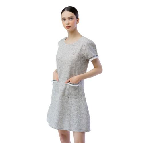Foto Produk Tweed Combi Dress - Abu-abu, L dari Voerin Official