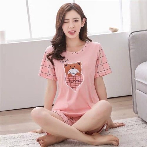 Foto Produk Baju Tidur / Piyama Pajamas Kaos Pink BEAR Celana Pendek Wanita Dewasa dari SJLA Store