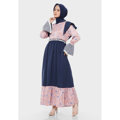 Foto Produk Hijab Ellysha MEDINA FLOWER LUXURY STYLE DRESS NAVY PINK dari Hijab Ellysha Official