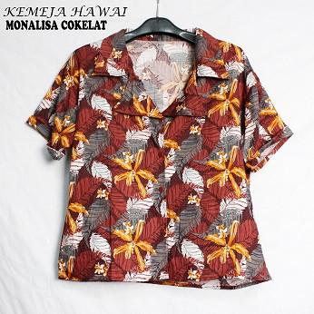 Foto Produk FortKlass Baju Atasan Kemeja Hawai Wanita Lengan Pendek Kasual Cewek - D kecil coklat dari FortKlass