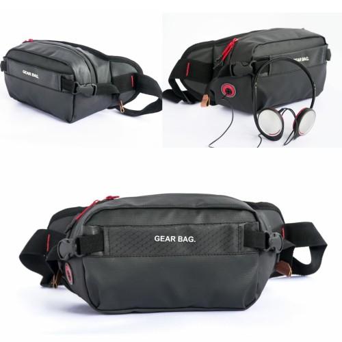Foto Produk tas selempang waistbag waist bag semi kulit 2# - Hitam Lis Abu dari L Habib