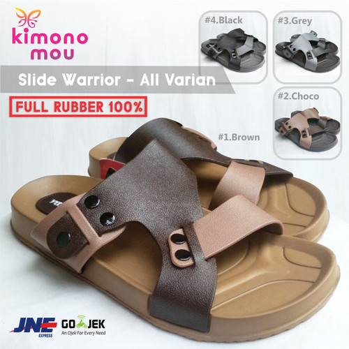 Foto Produk Sandal Slide Warrior - Sendal Pria Cowok - Karet - New - Slipon Slop - Brown Strap, 38 dari Kimono Mou