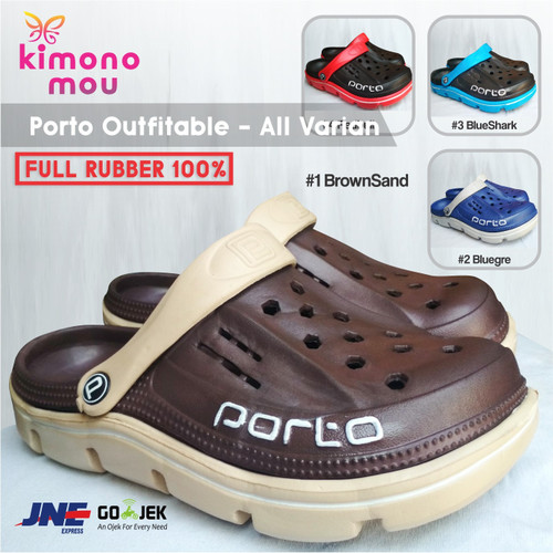 Foto Produk SlipOn Porto Slop - Karet - Model Crocs - Sandal Sendal Pria Cowok - BrownSand, 39 dari Kimono Mou