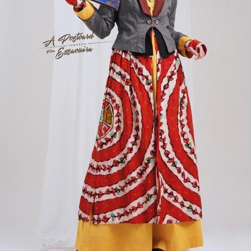 Jual Tuneeca T 0718023 Gamis Batik Tulis Dress Katun Abu Kuning Cantik Jakarta Timur Modest Fashions Tokopedia