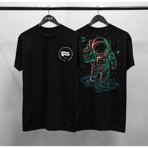 Foto Produk T-shirt Astronaut / Baju Kaos Distro Pria Tribe Hitam Pendek Slimfit - Hitam, L dari revenge eleven